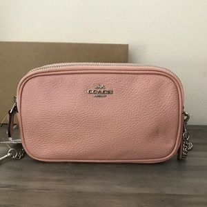 Coach Bags - Coach Pink Pebble Leather Crossbody Bag NWT